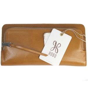 HOBO USHER Leather Wallet Caramel Tan